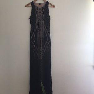 Small Semi Sheer Layered Tribal Maxi Dress